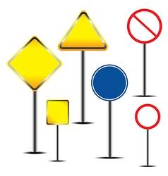 Blank warning road sign vector image vector image