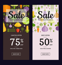 flat vegetables vegan shop sale flyer vector image vector image