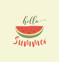 hello summer card with melon vector image vector image
