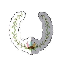sticker decorative half crown branch with vector image vector image