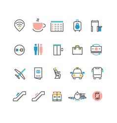 airoport icons with line and colorful elements vector image