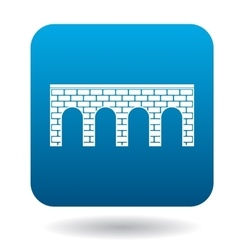 Bridge of brick with arches icon simple style vector