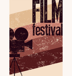 film festival retro typographical grunge poster vector image vector image