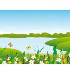 flowers on the river bank vector image vector image