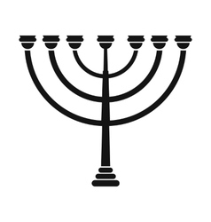 Gold hanukkah menorah simple icon vector image