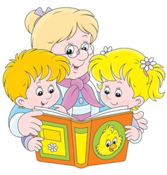Grandma and grandchildren reading vector image