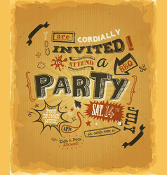 party invitation poster on kraft paper vector image