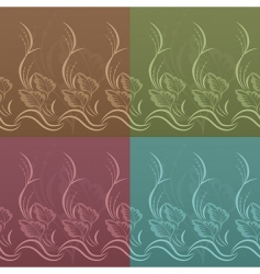 set of vector floral patterns vector image vector image