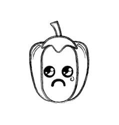 Silhouette kawaii cute crying pepper vegetable vector