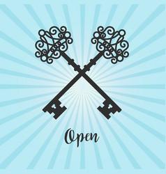 vintage crossed keys on blue background vector image