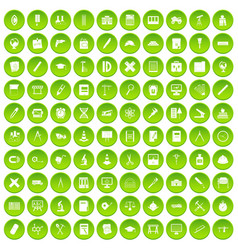 100 compass icons set green circle vector
