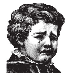 A young boy crying vintage engraving vector