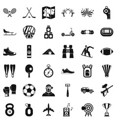 Active sport icons set simple style vector