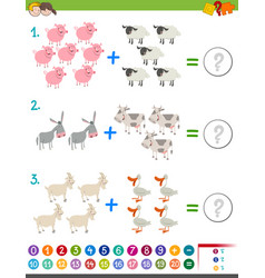 Addition maths activity for children vector