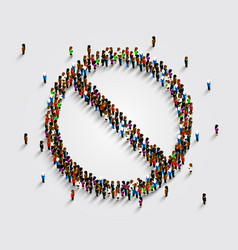 Ban symbol template prohibiting sign many people vector