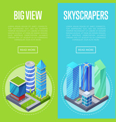 Big skyscrapers architecture banners set vector