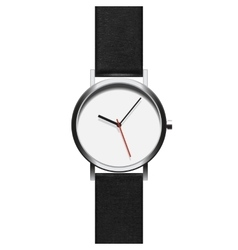Black analog wristwatch in a steel frame with vector image