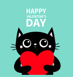 black cat holding big red heart happy valentines vector image