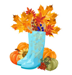 Blue boots full with autumn leaves fall vector