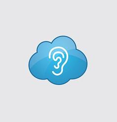 Blue cloud ear icon vector image