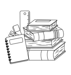 Books and school supplies design vector