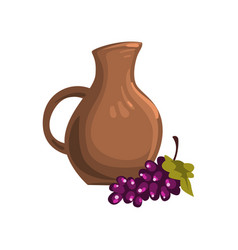 Brown ceramic pitcher of wine bunch of ripe vector