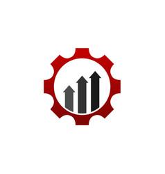 business finance logo graph bar arrow inside cog vector image