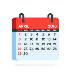 Calendar for 2018 year full month april icon vector