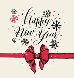 calligraphic text happy new year with snowflakes vector image