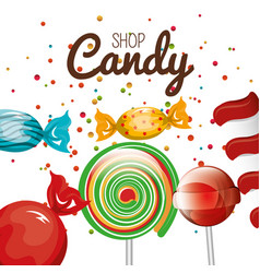 candy shop and lollipop spiral graphic vector image