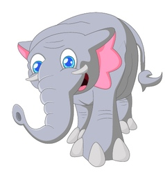 Cartoon cute elephant on white background vector