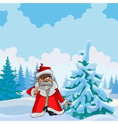 cartoon man in a Santa Claus clothes in winter vector image