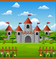 Cartoon of fairy tale castle with nature landscape vector