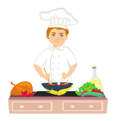 Cheerful chef cooks healthy and tasty dish vector