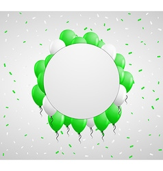 Circle badge and green balloons vector