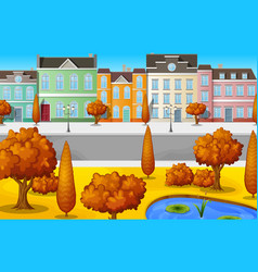 cityscape with buildings and trees autumn season vector image