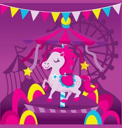 Colorful carousel horse fun carnival scene vector