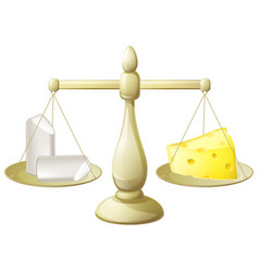 Comparing chalk and cheese scales vector