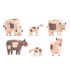Cow bull and calf set geometric farm animals vector
