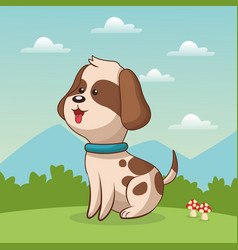 cute doggy sitting grass landscape vector image