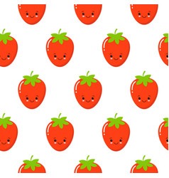 cute strawberry pattern background fruit vector image