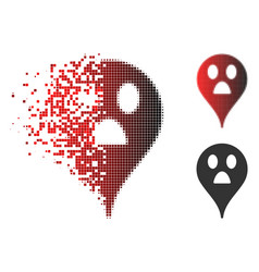 Decomposed pixelated halftone wonder smiley map vector