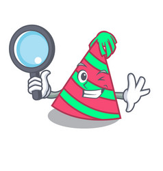 Detective party hat character cartoon vector