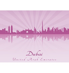 Dubai skyline in purple radiant orchid vector