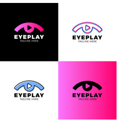 eye video media music sound button and play icon vector image