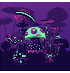 fantasy backround wth neon mushrrooms magic vector image