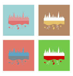 Flat icon design collection land roots vector