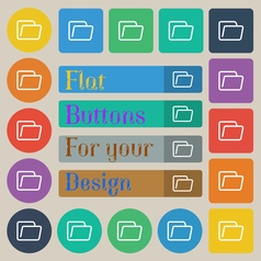 Folder icon sign Set of twenty colored flat round vector image