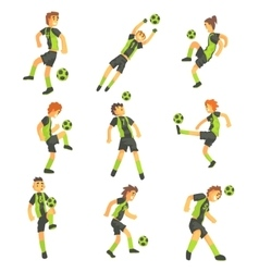 Football Players Of One Team With Ball Isolated vector image