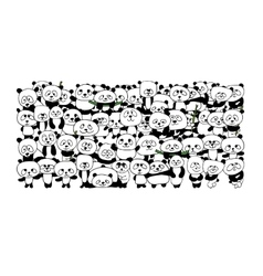 Funny panda family for your design vector image